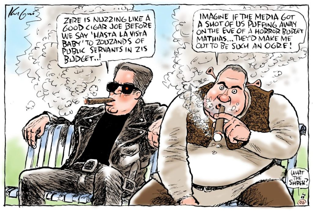 Cormann and Hockey – a portrait of arrogance smoking cigars before the tough 2014 budget.                            Cartoon with kind permission of Mark Knight.